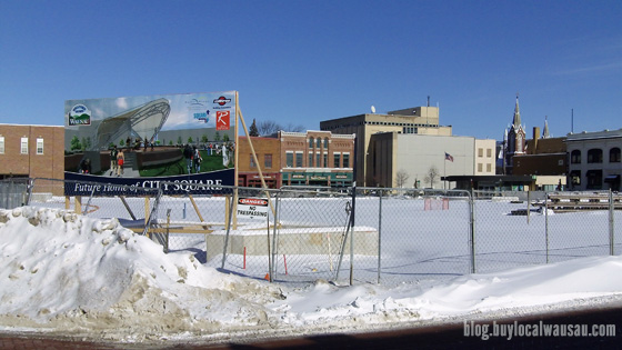 Wausau snow covered 400 block city square on groundhog day