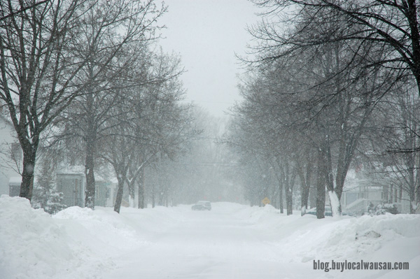 Snow covered street, wausau wi