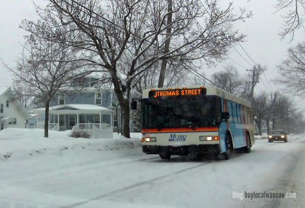 Ride the bus in snowy Wausau