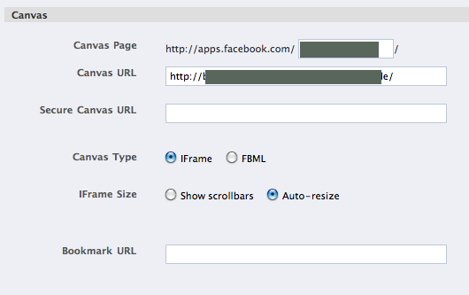 Facebook App setting canvas url