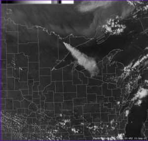 National Weather Service Satellite image of boundary waters smoke plume