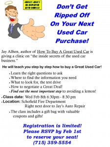 Jay's Auto Wausau how to buy a great used car clinic