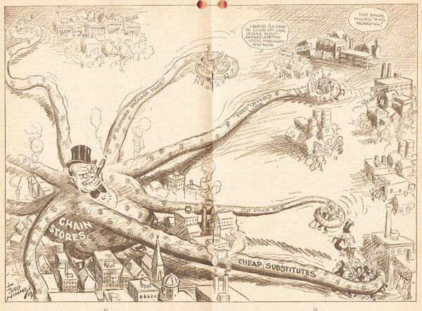 Ever reaching tentacles of chain stores: 1929 cartoon