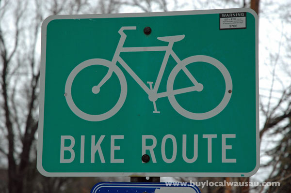 Wausau bike route sign
