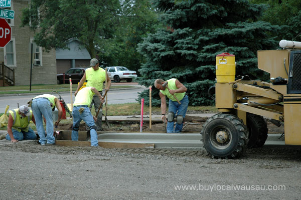 laying curb on Prospect Street
