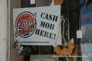 Cash mob Sign
