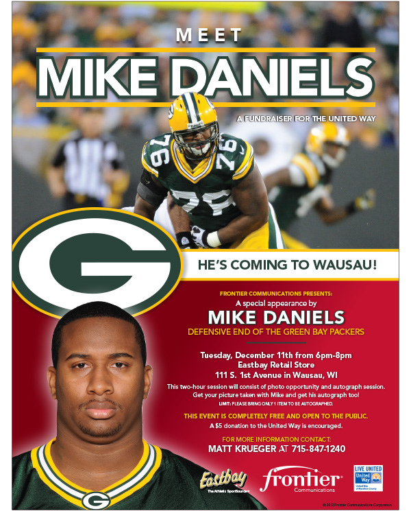 Packers Defensive End Mike Daniels Appearing in Wausau Tuesday December 11