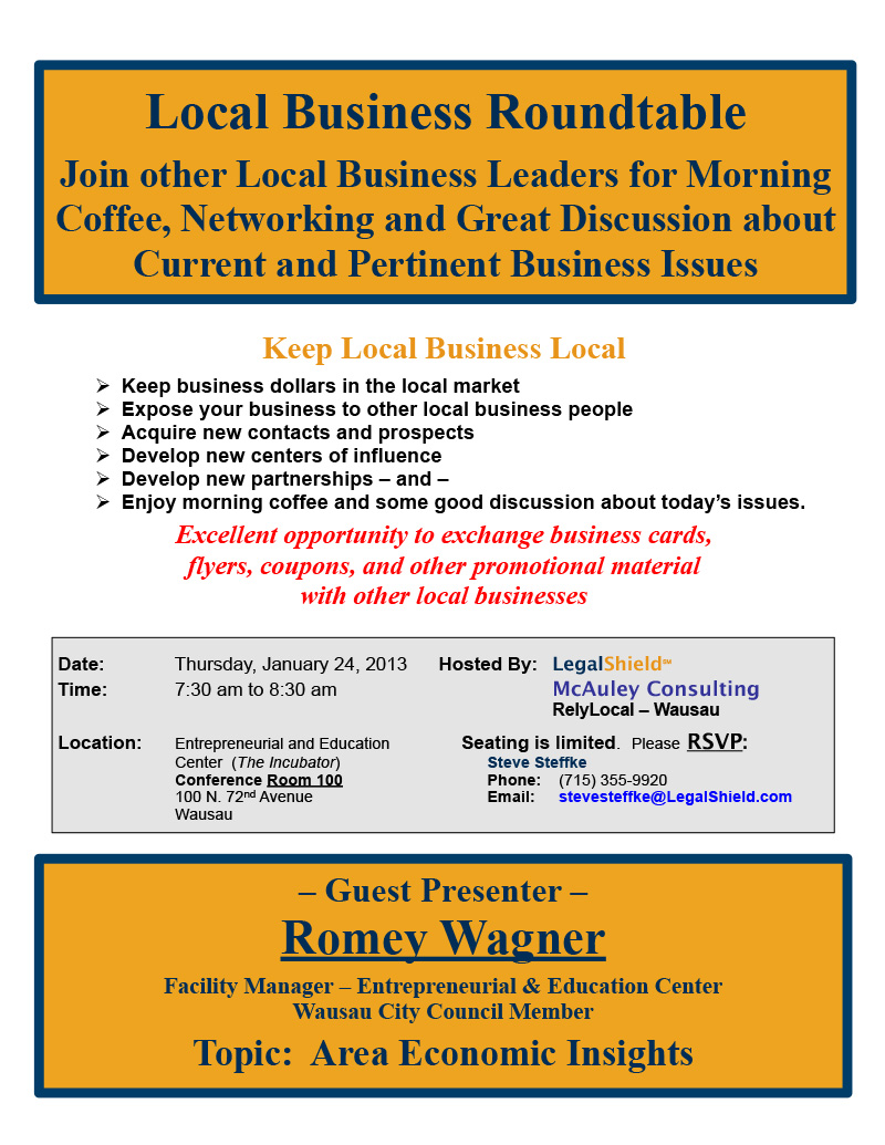 Local Business Roundtable January, 2013 Networking Event