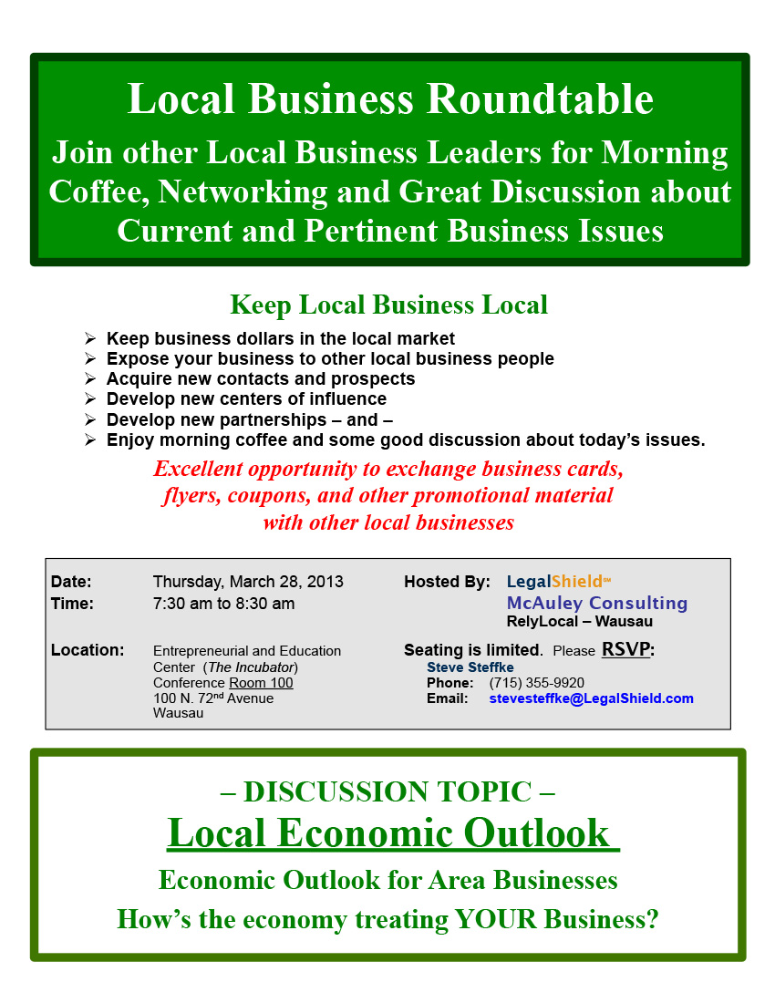 Local Business Roundtable March, 2013 Networking Event