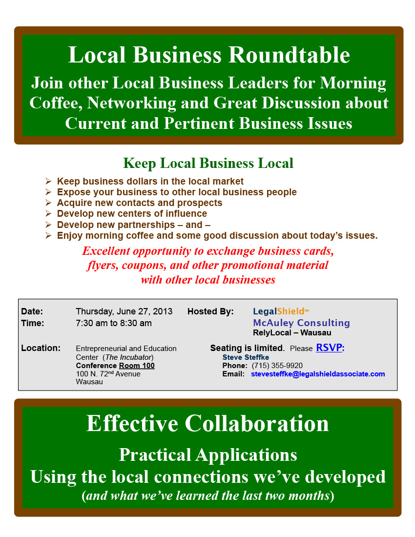 Local Business Roundtable June, 2013 Networking Event